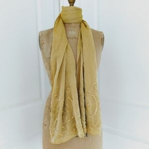 Sheer Metallic Gold Evening Wrap with Sequins